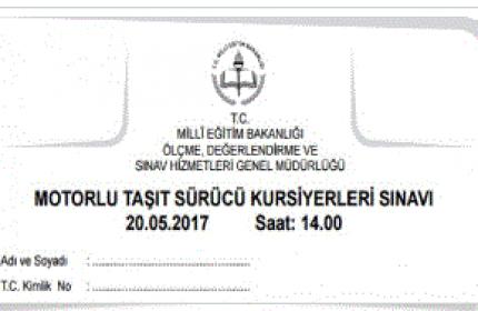 20 Mayıs 2017 Ehliyet Sınavı Sonuçları