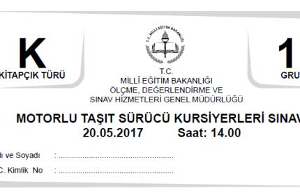 20 Mayıs 2017 Ehliyet Sınav Soruları Çöz