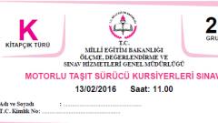 13 Şubat 2016 Ehliyet Sınav Soruları Çöz
