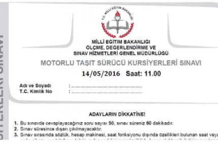 14 Mayıs 2016 Ehliyet Sınav Soruları Çöz