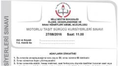27 Ağustos 2016 Ehliyet Sınav Soruları Çöz